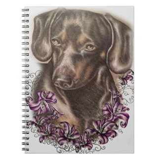 Drawing of Brown Dachshund Dog and Lilies Art Spiral Notebook