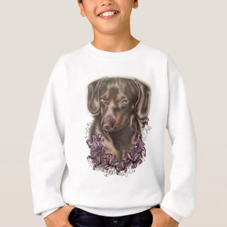 Drawing of Brown Dachshund Dog and Lilies Art Sweatshirt