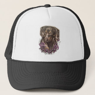 Drawing of Brown Dachshund Dog and Lilies Art Trucker Hat