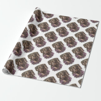 Drawing of Brown Dachshund Dog and Lilies Art Wrapping Paper