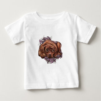 Drawing of Brown Labrador Dog and Lilies Baby T-Shirt