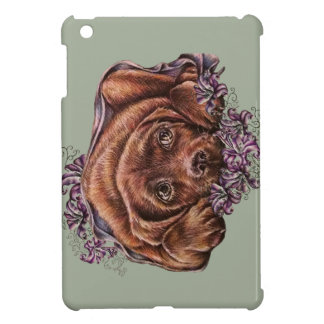 Drawing of Brown Labrador Dog and Lilies Case For The iPad Mini