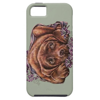 Drawing of Brown Labrador Dog and Lilies Case For The iPhone 5