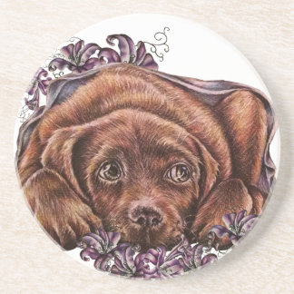 Drawing of Brown Labrador Dog and Lilies Coaster