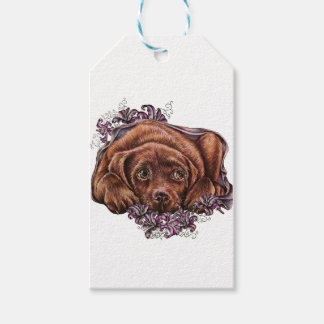Drawing of Brown Labrador Dog and Lilies Gift Tags