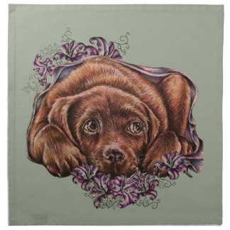 Drawing of Brown Labrador Dog and Lilies Napkin