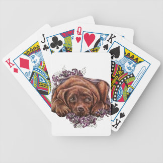 Drawing of Brown Labrador Dog and Lilies Poker Deck