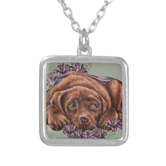 Drawing of Brown Labrador Dog and Lilies Silver Plated Necklace