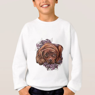 Drawing of Brown Labrador Dog and Lilies Sweatshirt
