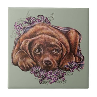 Drawing of Brown Labrador Dog and Lilies Tile