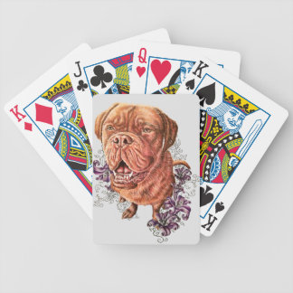 Drawing of Brown Mastiff Dog Art and Lilies Bicycle Playing Cards