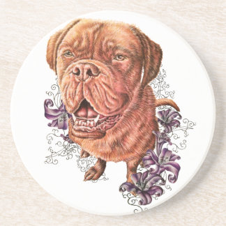 Drawing of Brown Mastiff Dog Art and Lilies Coaster