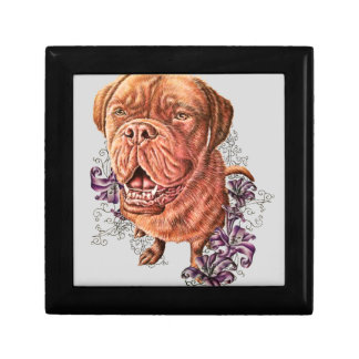 Drawing of Brown Mastiff Dog Art and Lilies Gift Box