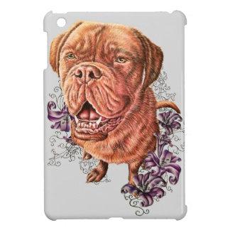 Drawing of Brown Mastiff Dog Art and Lilies iPad Mini Cover