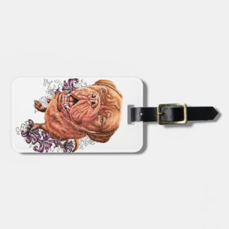 Drawing of Brown Mastiff Dog Art and Lilies Luggage Tag