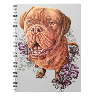 Drawing of Brown Mastiff Dog Art and Lilies Notebooks