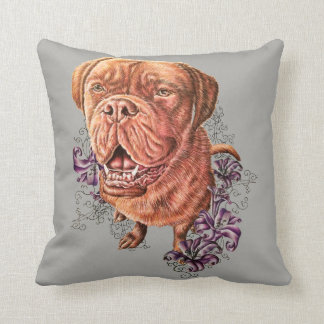 Drawing of Brown Mastiff Dog Art and Lilies Pillow