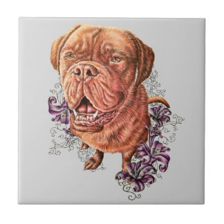 Drawing of Brown Mastiff Dog Art and Lilies Tile
