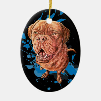 Drawing of Brown Mastiff Dog Art and Paint Ceramic Ornament