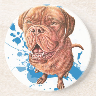 Drawing of Brown Mastiff Dog Art and Paint Coaster