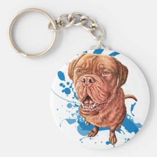 Drawing of Brown Mastiff Dog Art and Paint Keychain
