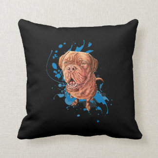 Drawing of Brown Mastiff Dog Art and Paint Throw Pillow