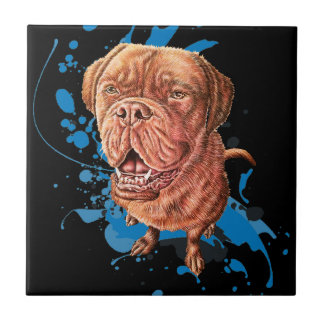 Drawing of Brown Mastiff Dog Art and Paint Tile