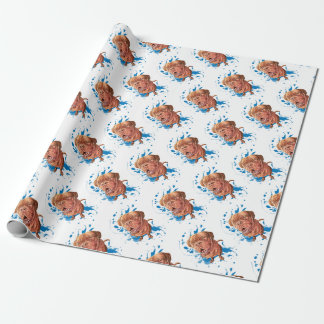 Drawing of Brown Mastiff Dog Art and Paint Wrapping Paper