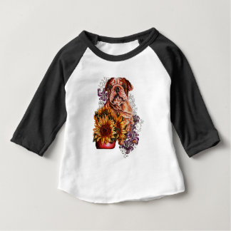 Drawing of Bulldog Sunflowers and Lilies Baby T-Shirt