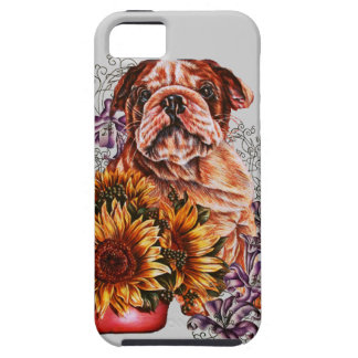 Drawing of Bulldog Sunflowers and Lilies Case For The iPhone 5