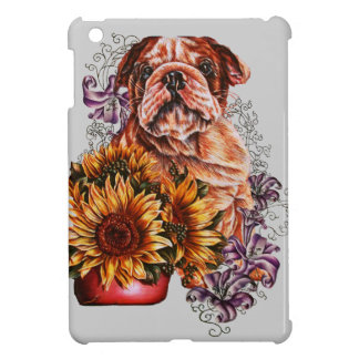 Drawing of Bulldog Sunflowers and Lilies iPad Mini Cover