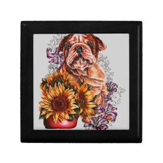 Drawing of Bulldog Sunflowers and Lilies Keepsake Boxes