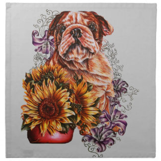 Drawing of Bulldog Sunflowers and Lilies Napkin