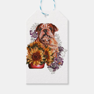 Drawing of Bulldog Sunflowers and Lilies Pack Of Gift Tags