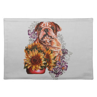 Drawing of Bulldog Sunflowers and Lilies Placemat