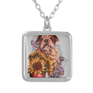 Drawing of Bulldog Sunflowers and Lilies Silver Plated Necklace