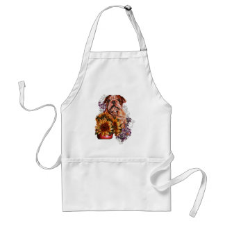 Drawing of Bulldog Sunflowers and Lilies Standard Apron