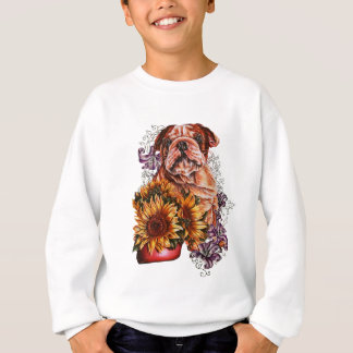 Drawing of Bulldog Sunflowers and Lilies Sweatshirt