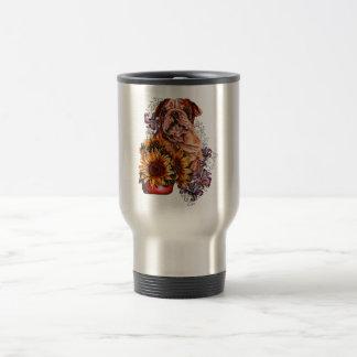 Drawing of Bulldog Sunflowers and Lilies Travel Mug