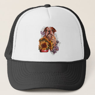 Drawing of Bulldog Sunflowers and Lilies Trucker Hat