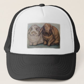 Drawing of Bunnie Rabbits Cute Animal Art Trucker Hat