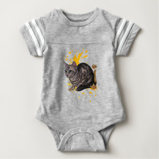Drawing of Cat and Daffodils Animal Art and Paint Baby Bodysuit