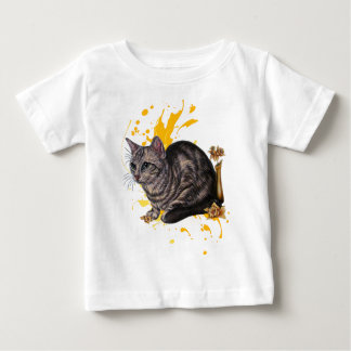 Drawing of Cat and Daffodils Animal Art and Paint Baby T-Shirt