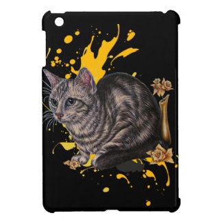 Drawing of Cat and Daffodils Animal Art and Paint iPad Mini Cover