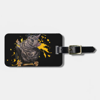 Drawing of Cat and Daffodils Animal Art and Paint Luggage Tag