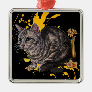 Drawing of Cat and Daffodils Animal Art and Paint Metal Ornament