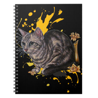 Drawing of Cat and Daffodils Animal Art and Paint Notebook