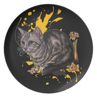 Drawing of Cat and Daffodils Animal Art and Paint Plate