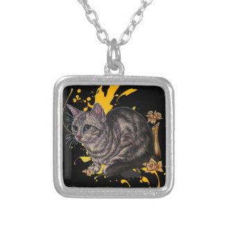 Drawing of Cat and Daffodils Animal Art and Paint Silver Plated Necklace