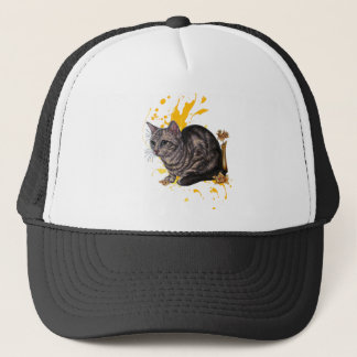 Drawing of Cat and Daffodils Animal Art and Paint Trucker Hat